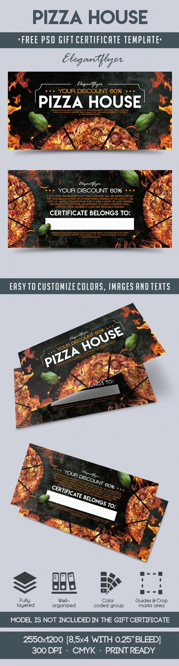Pizza House – Free Gift Certificate PSD Template