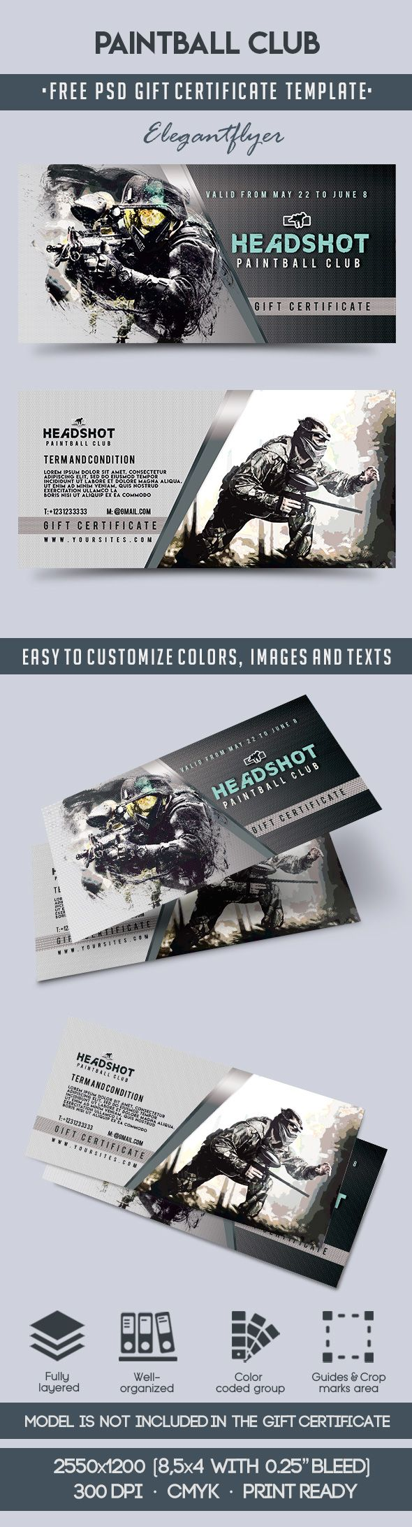 Paintball Club – Free Gift Certificate PSD Template