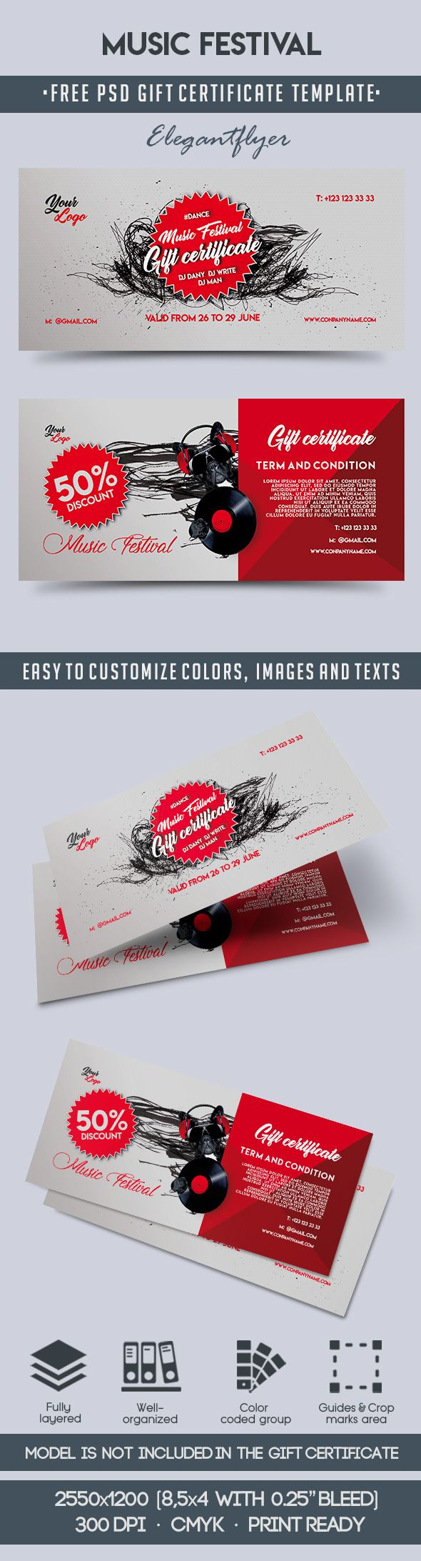 Music Festival – Free Gift Certificate PSD Template