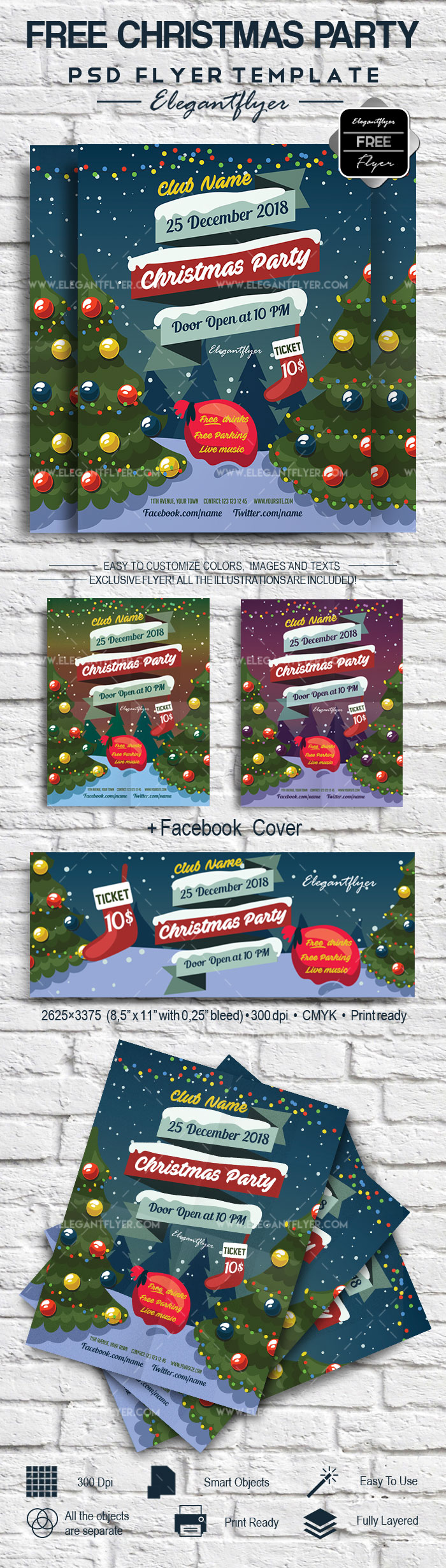 PSD Flyer for Christmas Tree Party