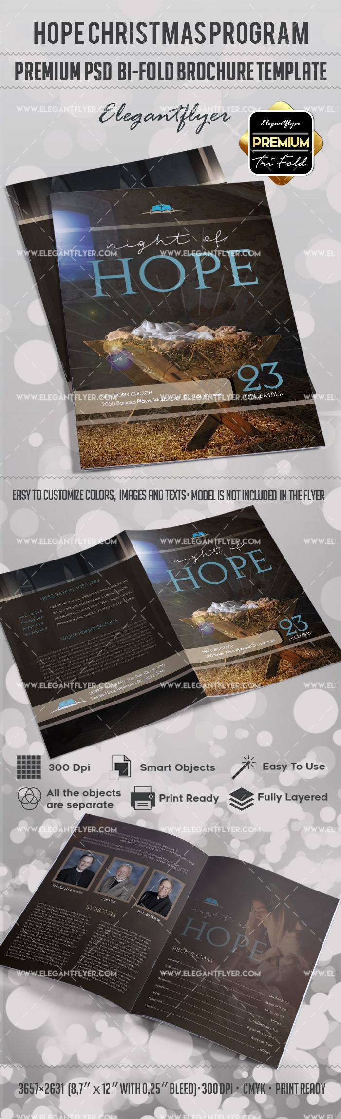 Hristmas hope program template by elegantflyer for 2 fold brochure template psd