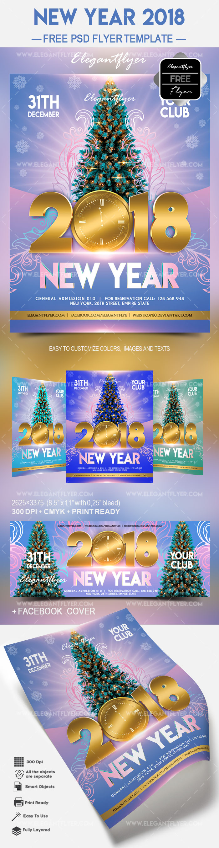 Free New Year 2018 – Flyer PSD Template