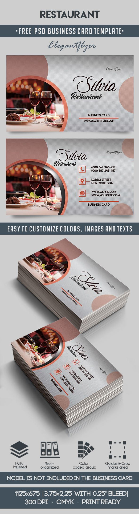 restaurant  u2013 free business card templates psd  u2013 by elegantflyer