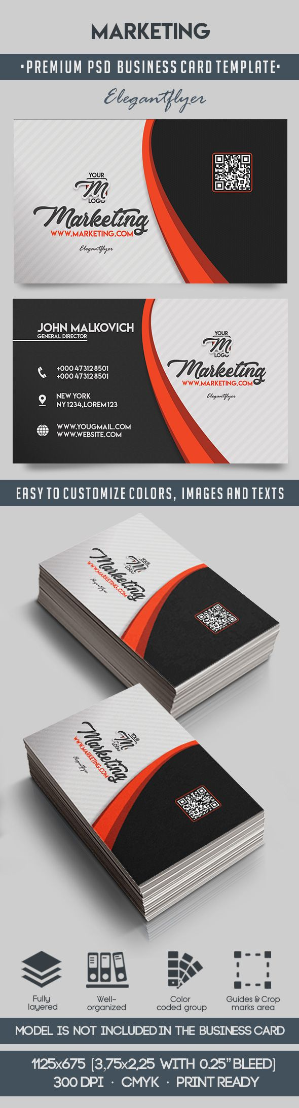 Marketing premium business card templates psd by elegantflyer marketing premium business card templates psd wajeb Images
