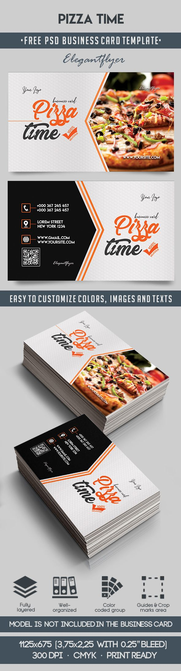 Pizza Time – Free Business Card Templates PSD