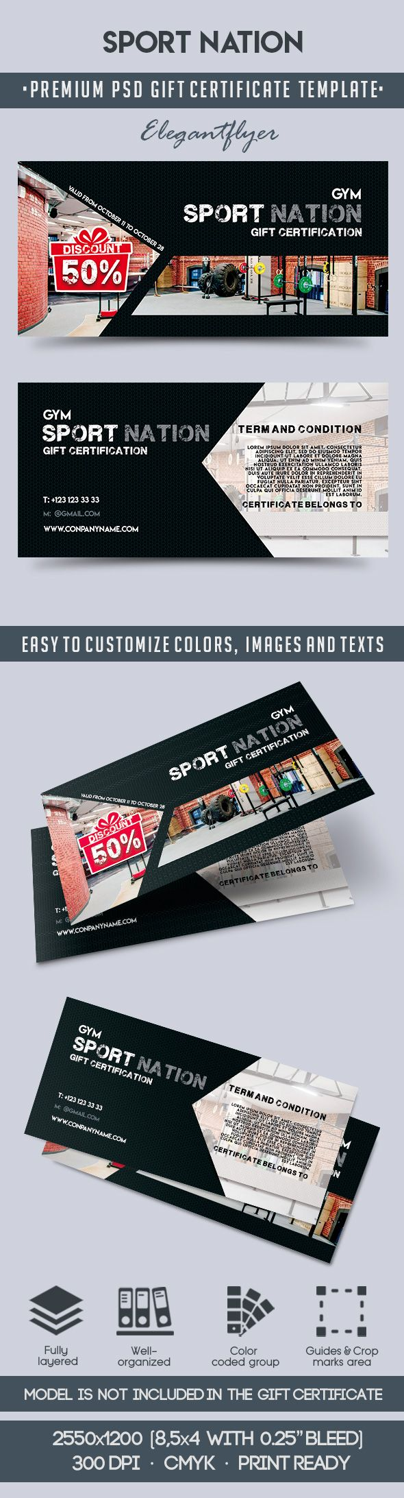 Sport Nation – Premium Gift Certificate PSD Template