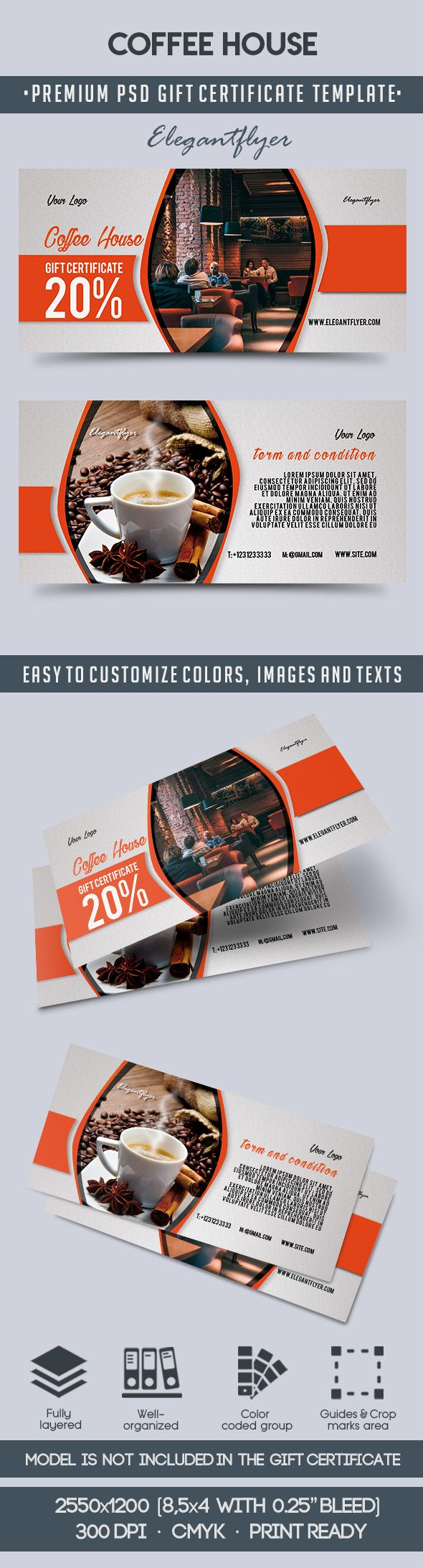 Coffee House – Premium Gift Certificate PSD Template