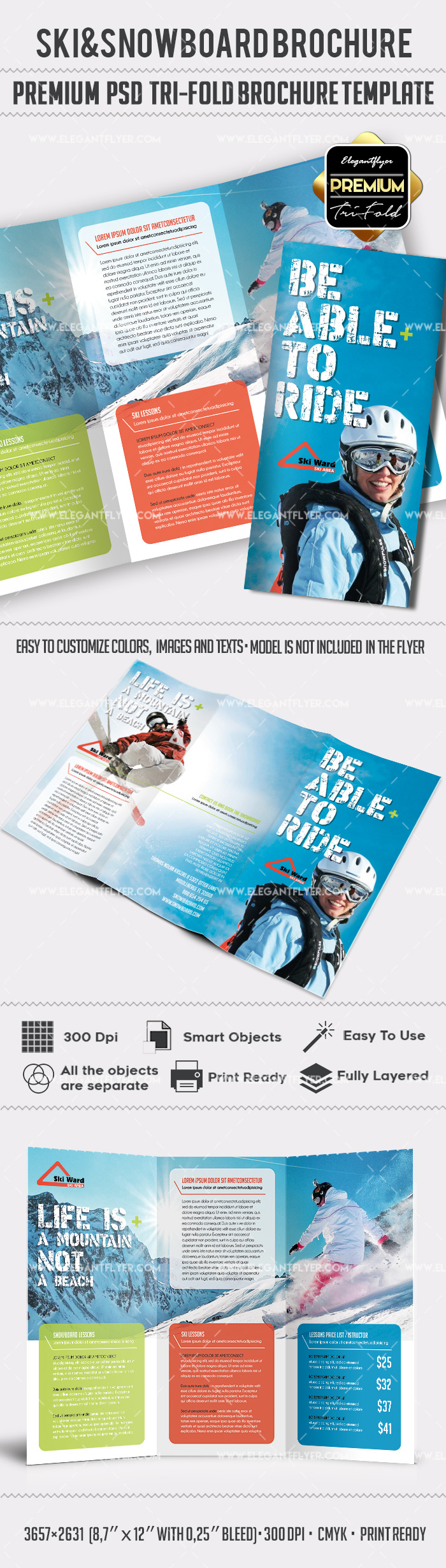 Ski and Snowboard Tri-Fold PSD Brochure