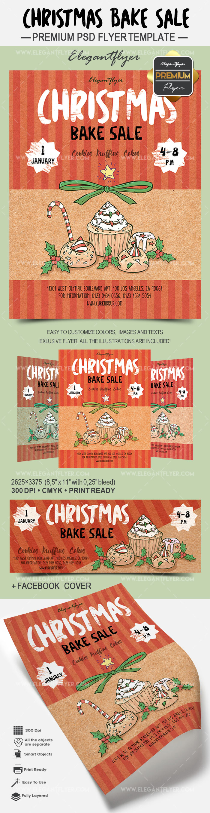 Christmas Bake Sale – Flyer PSD Template + Facebook Cover