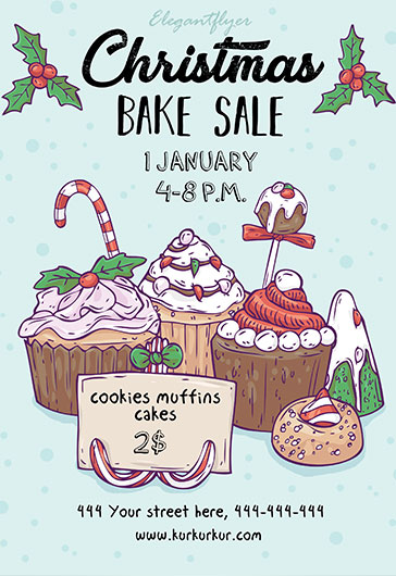 Christmas Bake Sale U2013 Flyer PSD Template + Facebook Cover U2013 By ElegantFlyer