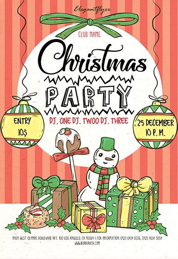 Free Fllyer Party for Christmas Snowman
