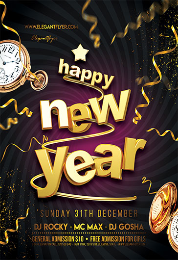 happy new year 2018 free flyer psd template by elegantflyer