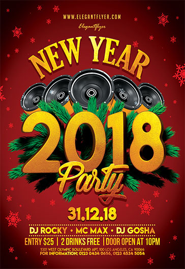 New Year – Flyer PSD Template + Instagram template