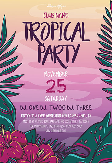 Tropical Party Invitation Template