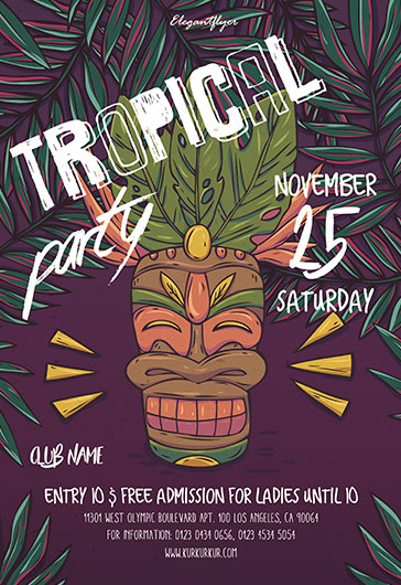 Flyer for Tropical Themed Party