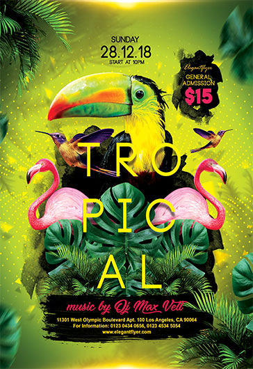 Flyer Template for Tropical Island Themed Party
