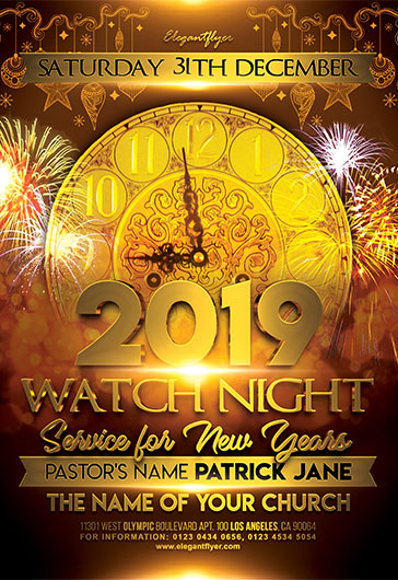 Watch Night Service for New Years Flyer