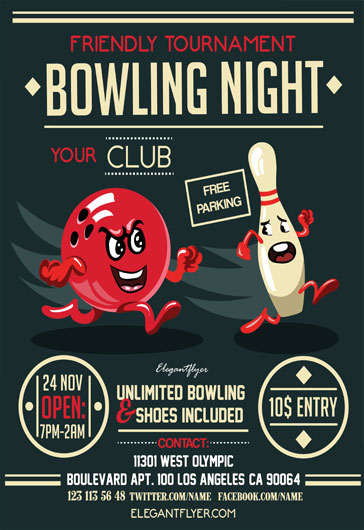 Bowling Night Flyer Psd Template By Elegantflyer