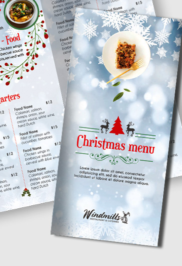 Christmas Dinner Menu Tri-Fold PSD Template