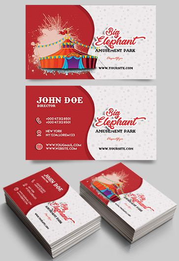 amusement park  u2013 free business card templates psd  u2013 by