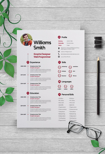 Free modern resume templates for photoshop psd by elegantflyer free cv template and cover letter yelopaper Choice Image