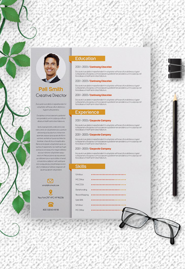 Free Cover Letter and CV PSD Template