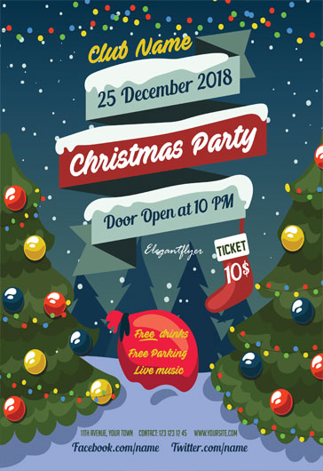 Christmas Party Flyer.Merry Christmas Free Poster Template