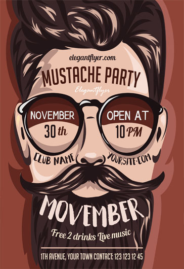 Party Flyer for Movember Mustache