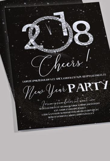 New Year Party Invitation PSD Brochure