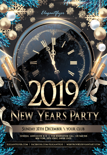 Happy New Year Snow PSD Flyer