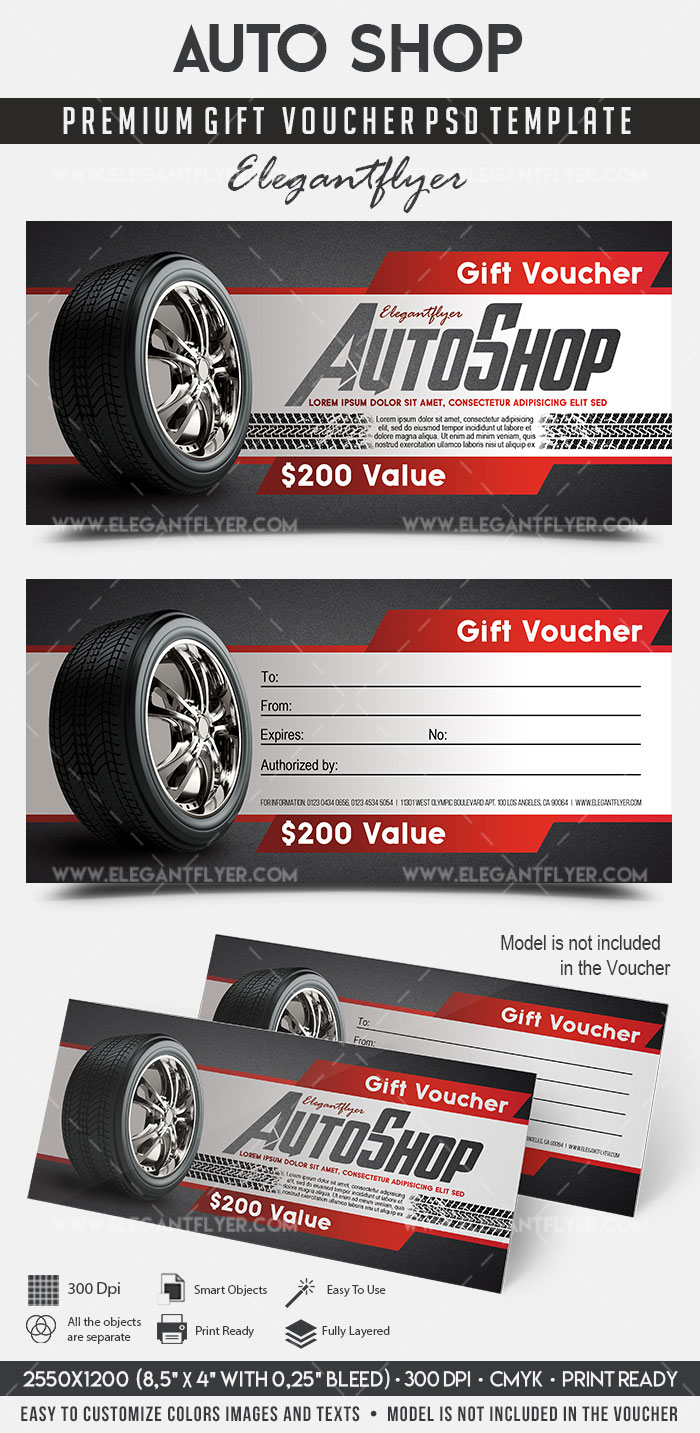 Auto shop premium gift certificate psd template by for Automotive gift certificate template