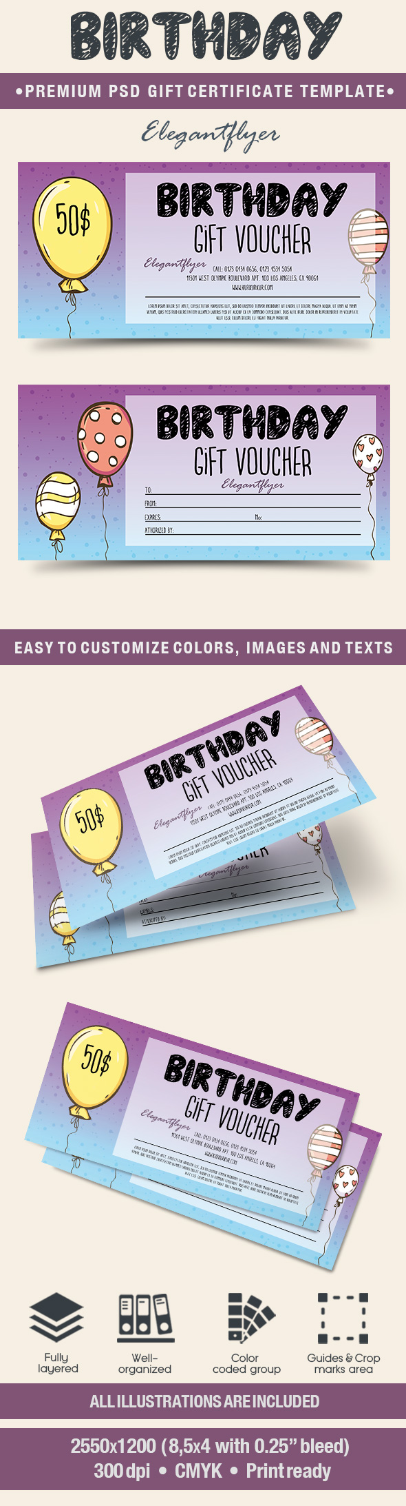 Template for Happy Birthday Balloons Gift Certificate