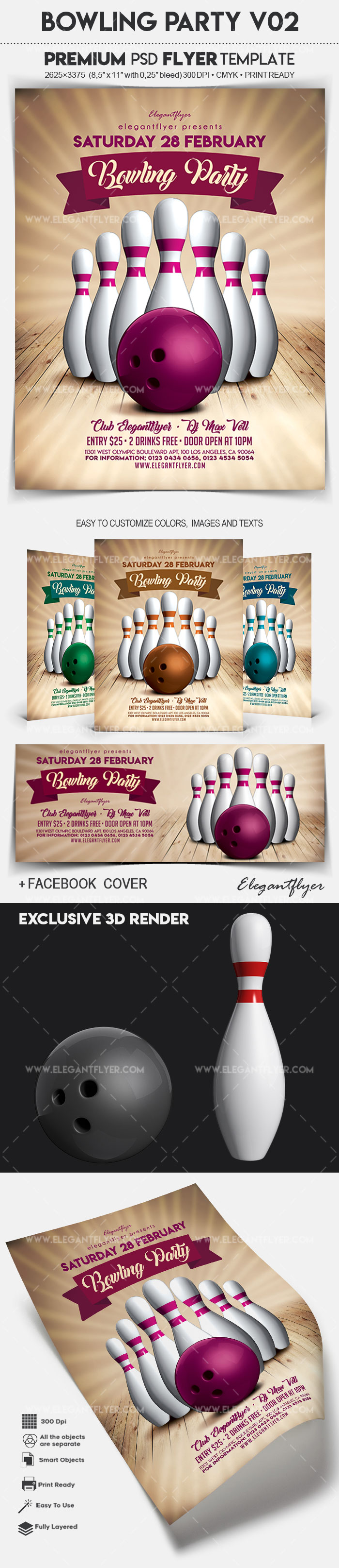 Bowling Party V02 – Flyer PSD Template + Facebook Cover