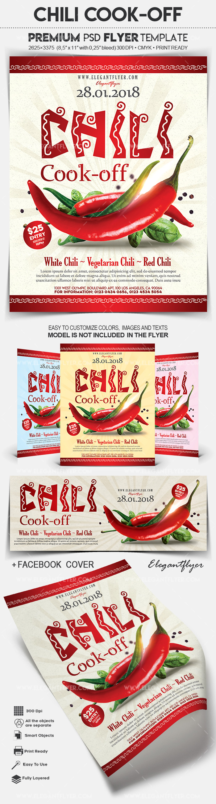 Chili Cook-off – Flyer PSD Template + Facebook Cover