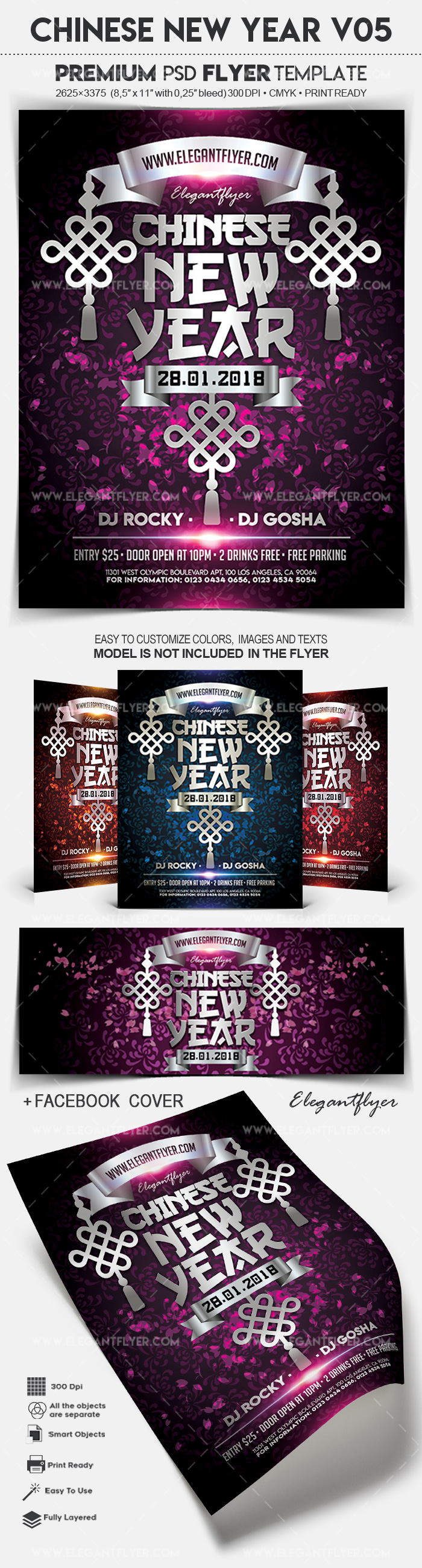 Chinese New Year V05 – Flyer PSD Template + Facebook Cover