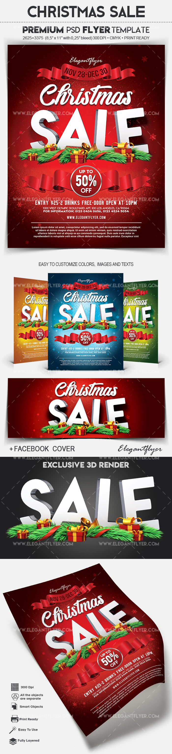Christmas Sale – Flyer PSD Template + Facebook Cover