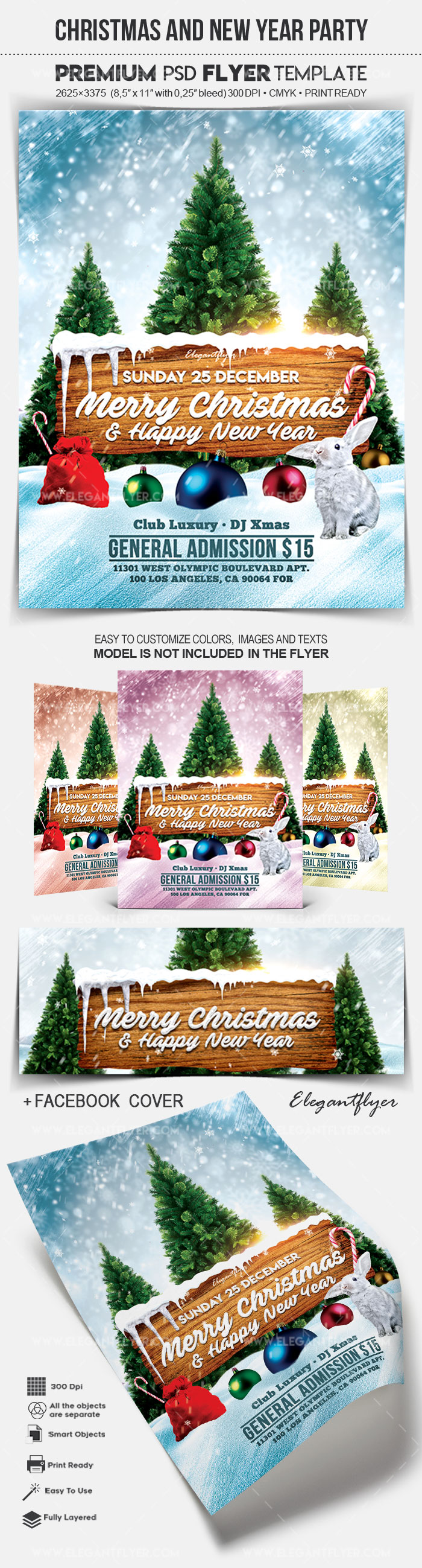 Christmas and New Year Party – Flyer PSD Template + Facebook Cover