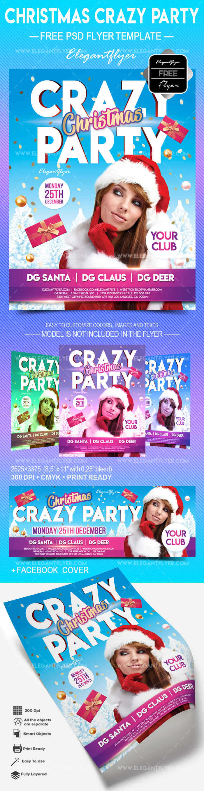 Free Christmas Crazy party – Flyer PSD Template