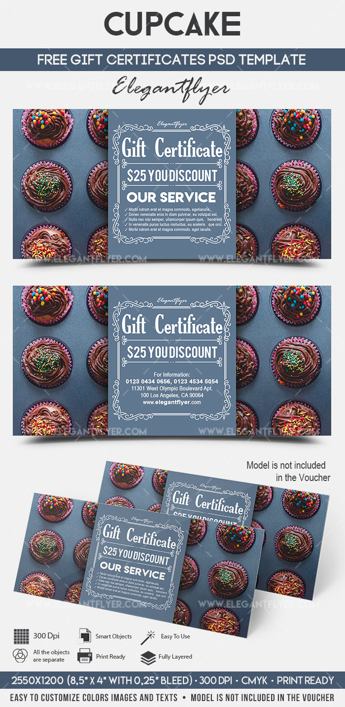Cupcake – FREE Gift Certificate PSD Template