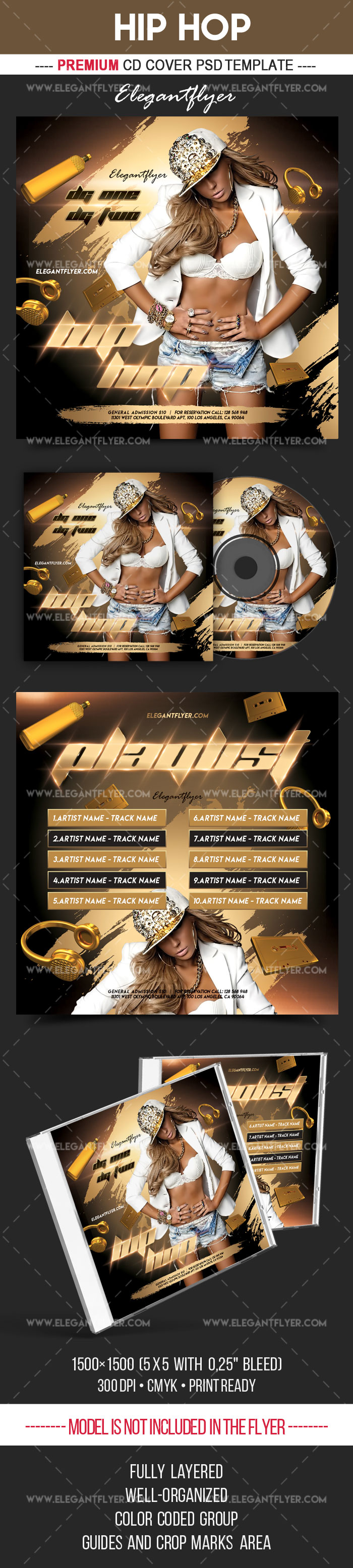 Hip Hop – Premium CD Cover PSD Template