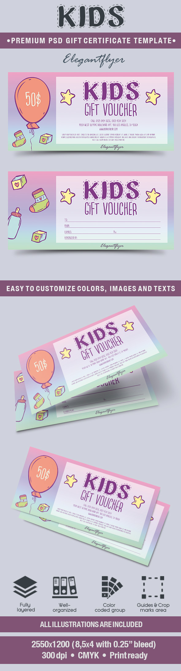 picture regarding Printable Gift Certificate Template called Printable Present Certification Templates for Children