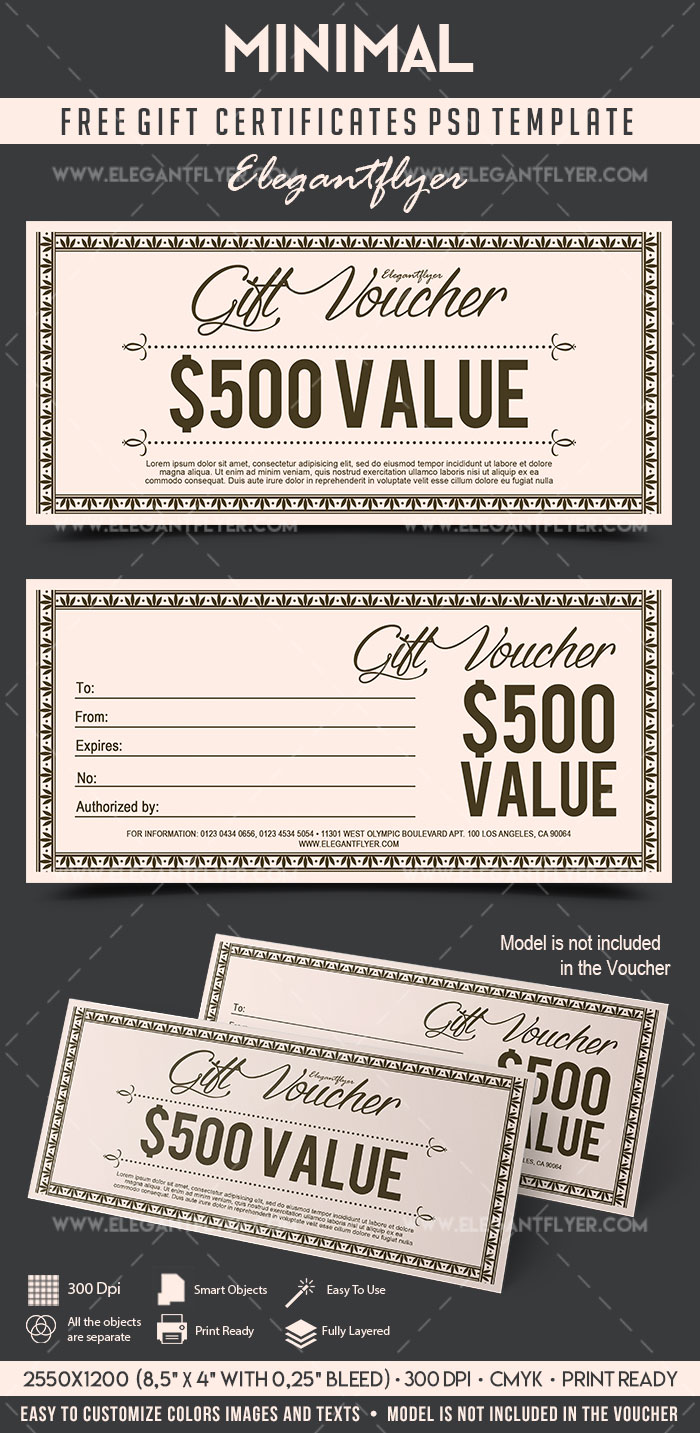 Minimal – FREE Gift Certificate PSD Template