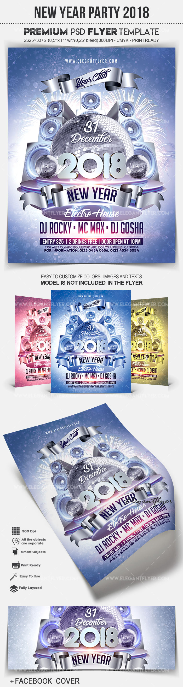 New Year Party 2018 – Flyer PSD Template + Facebook Cover