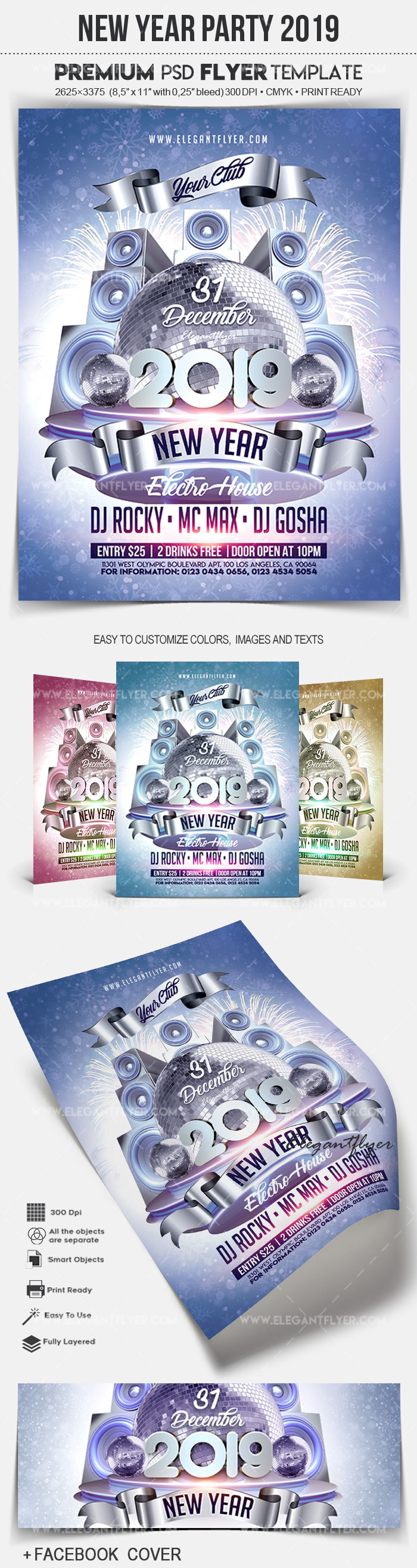 New Year Party 2019 – Flyer PSD Template