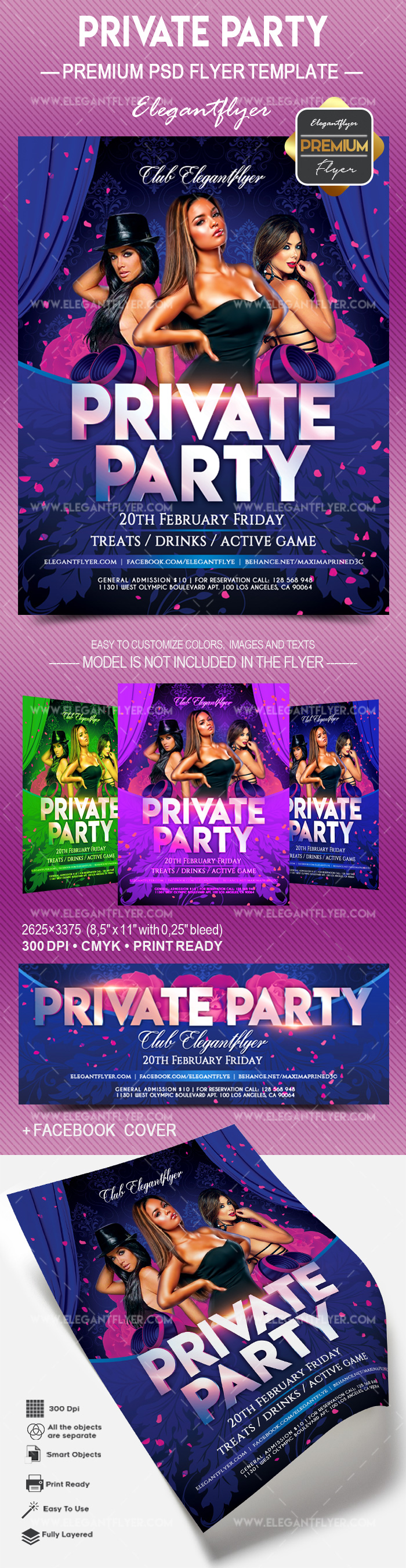 Private Party – Flyer PSD Template + Facebook Cover