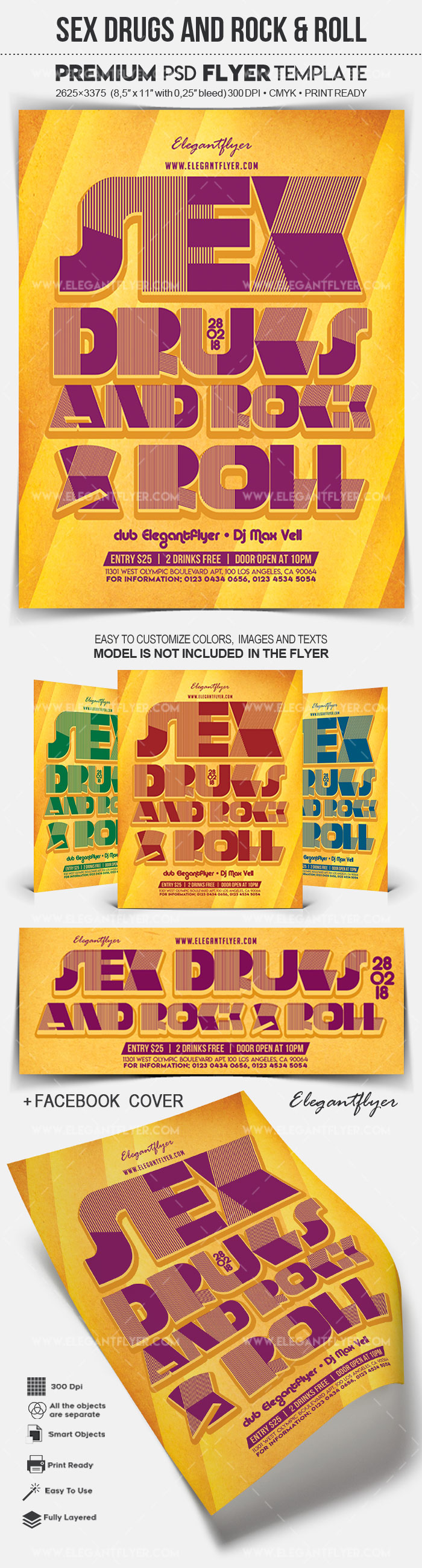 Sex Drugs and Rock & Roll – Flyer PSD Template