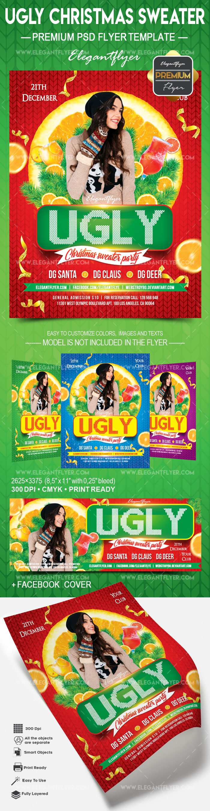 Ugly christmas sweater – Flyer PSD Template