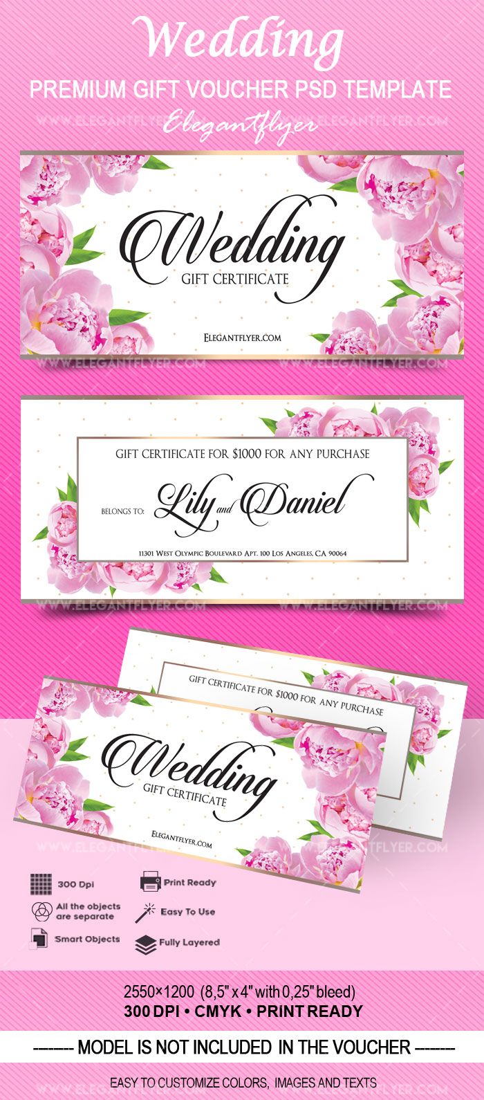 Wedding Premium Gift Certificate Psd Template By Elegantflyer