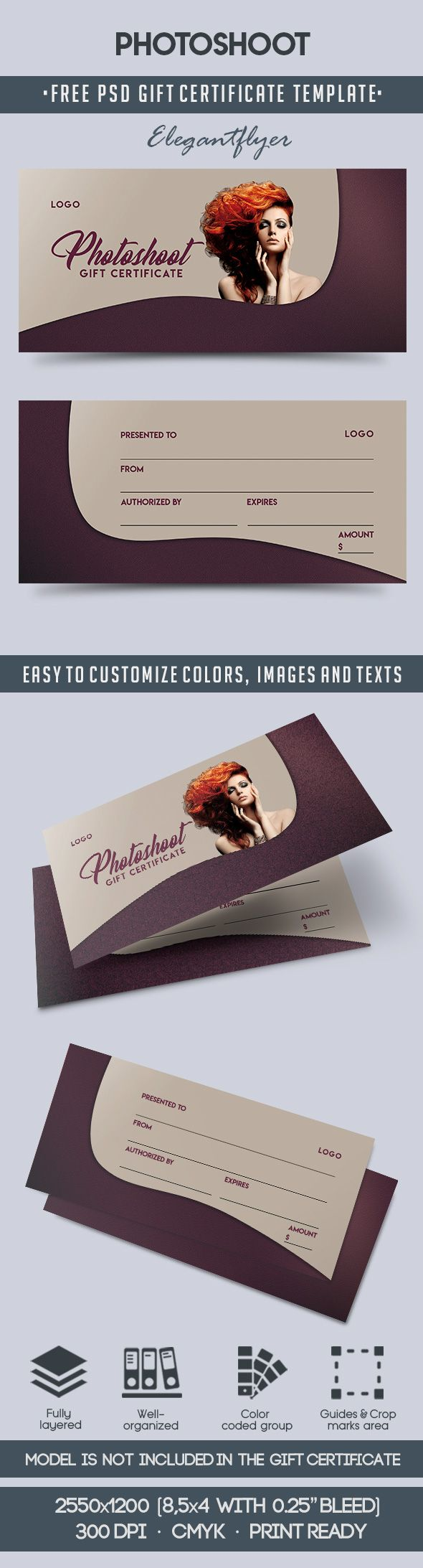 Photoshoot – Free Gift Certificate PSD Template