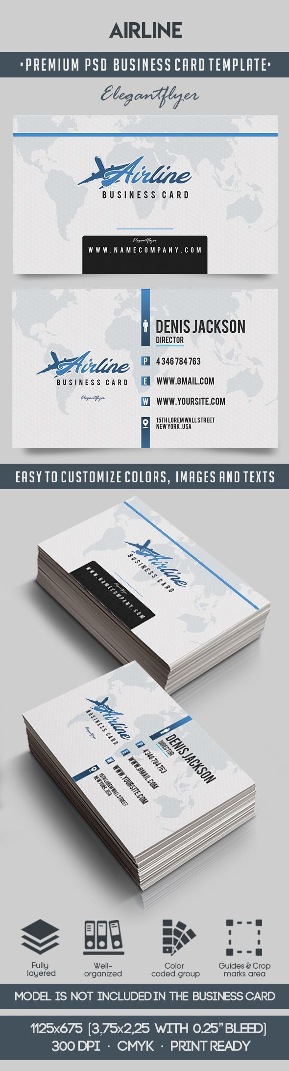 Airline – Premium Business Card Templates PSD